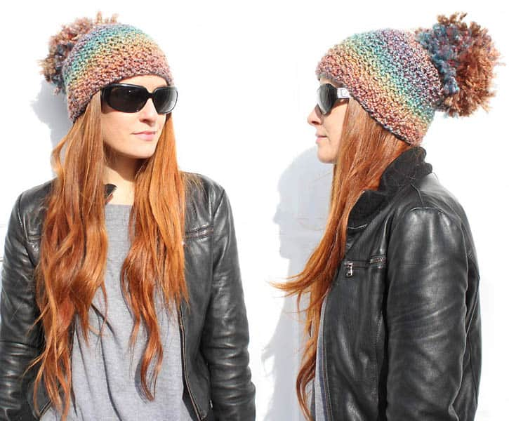 diy pom pom beanie [knitting pattern] - Gina Michele