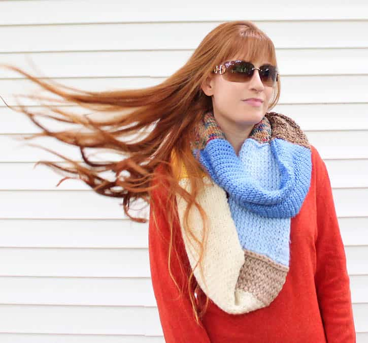 Leftover Yarn Infinity Scarf Knitting Pattern Gina Michele