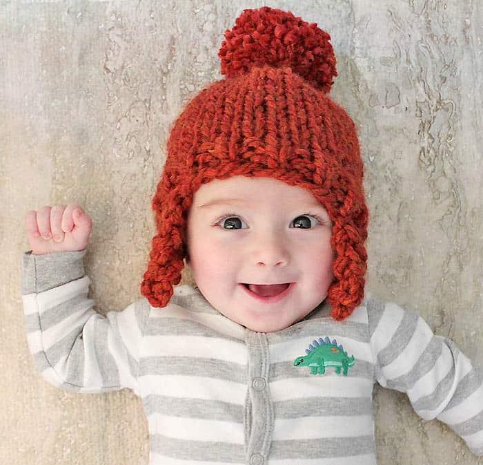 Baby Ear Flap Hat knitting pattern - Gina Michele