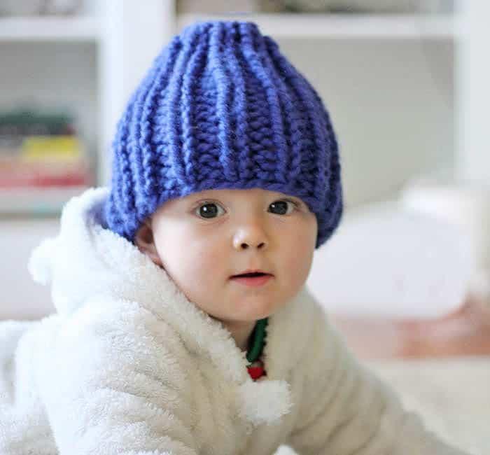 Easy Baby Beanie Knitting Pattern - Gina Michele