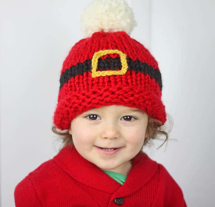 Santa's Belt Buckle Hat Baby Knitting Pattern - Gina Michele