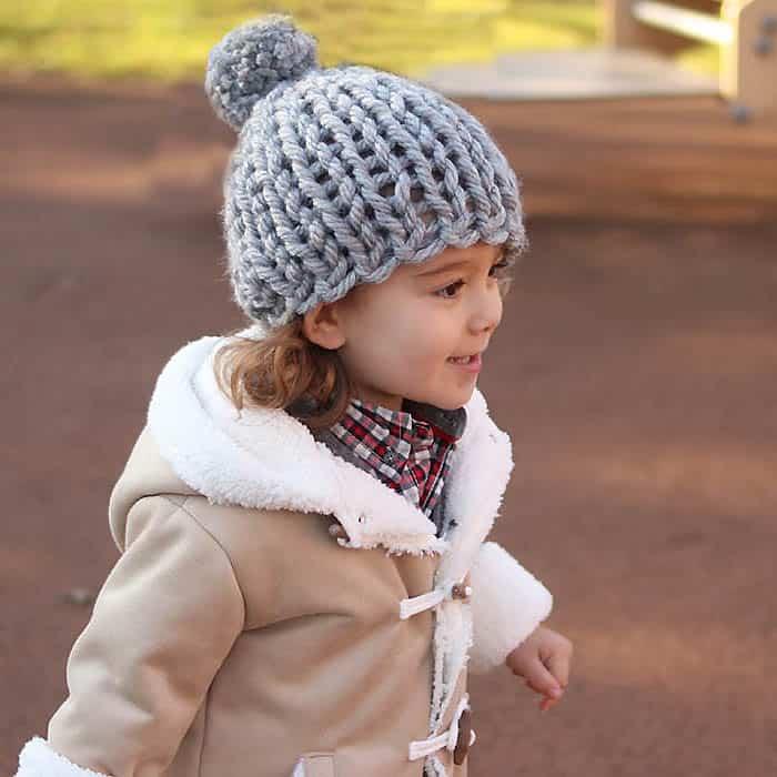 30 Minute Flat Knit Kids Hat Free Knitting Pattern - Gina ...