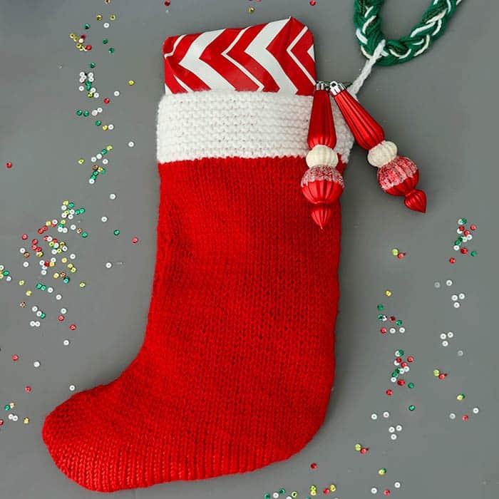 Flat Knit Christmas Stocking Knitting Pattern Gina Michele