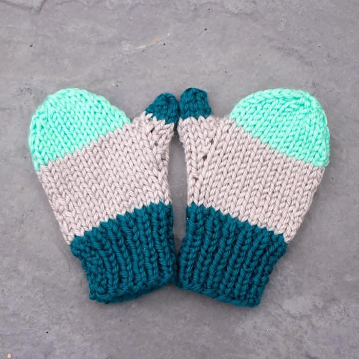 Flat Knit Kid's Mittens Knitting Pattern - Gina Michele