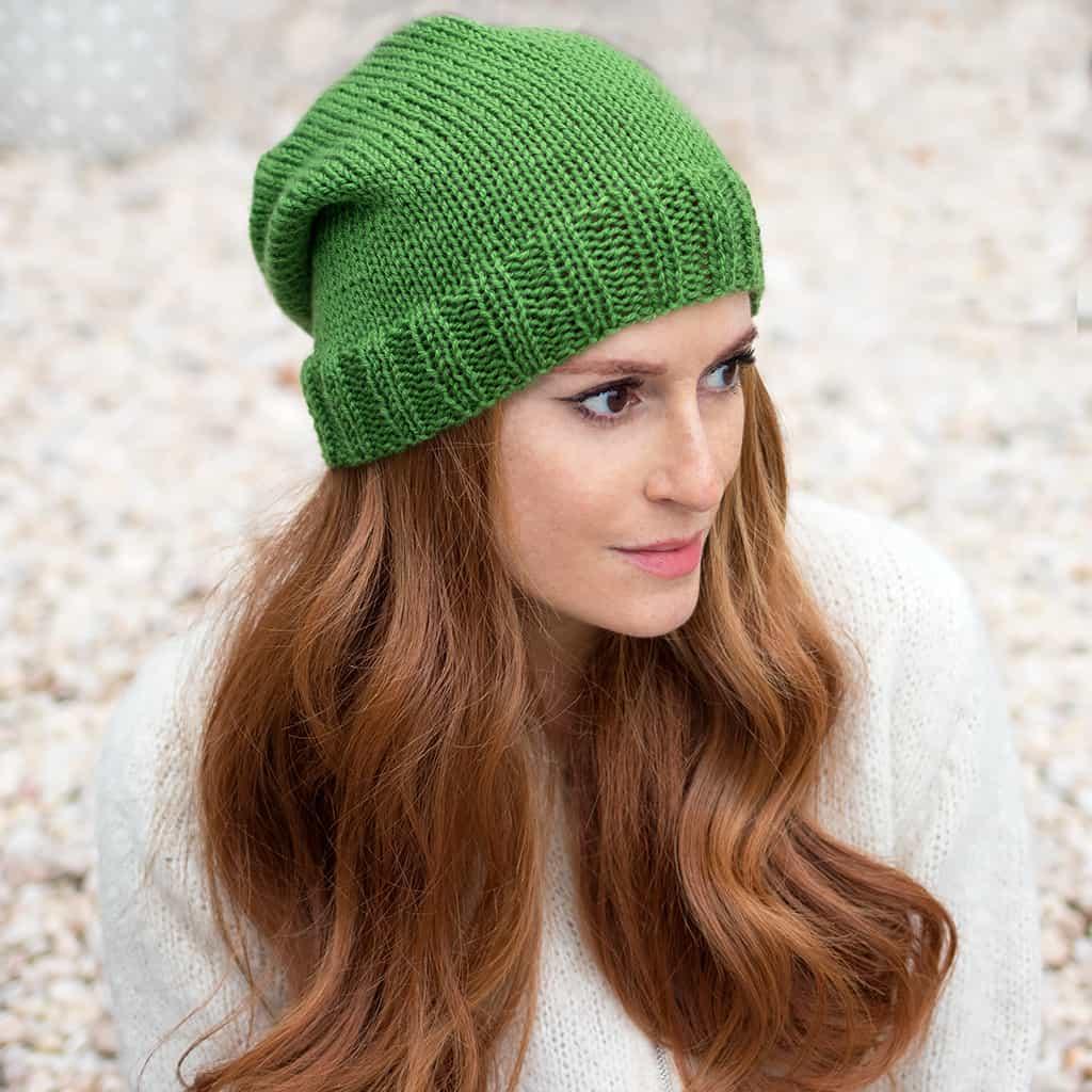 Beginner Flat Knit Hat Knitting Pattern - Gina Michele