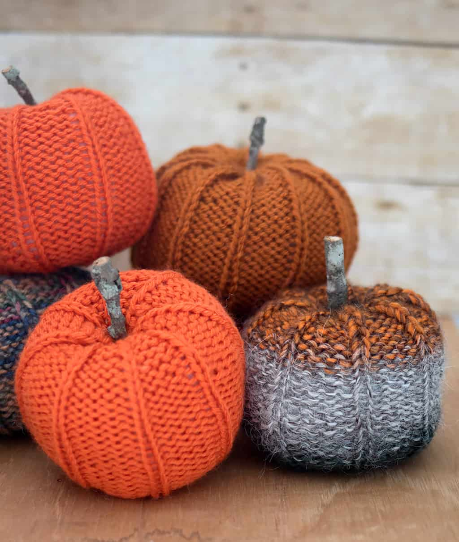 Scrap Yarn Pumpkin Knitting Pattern - Gina Michele