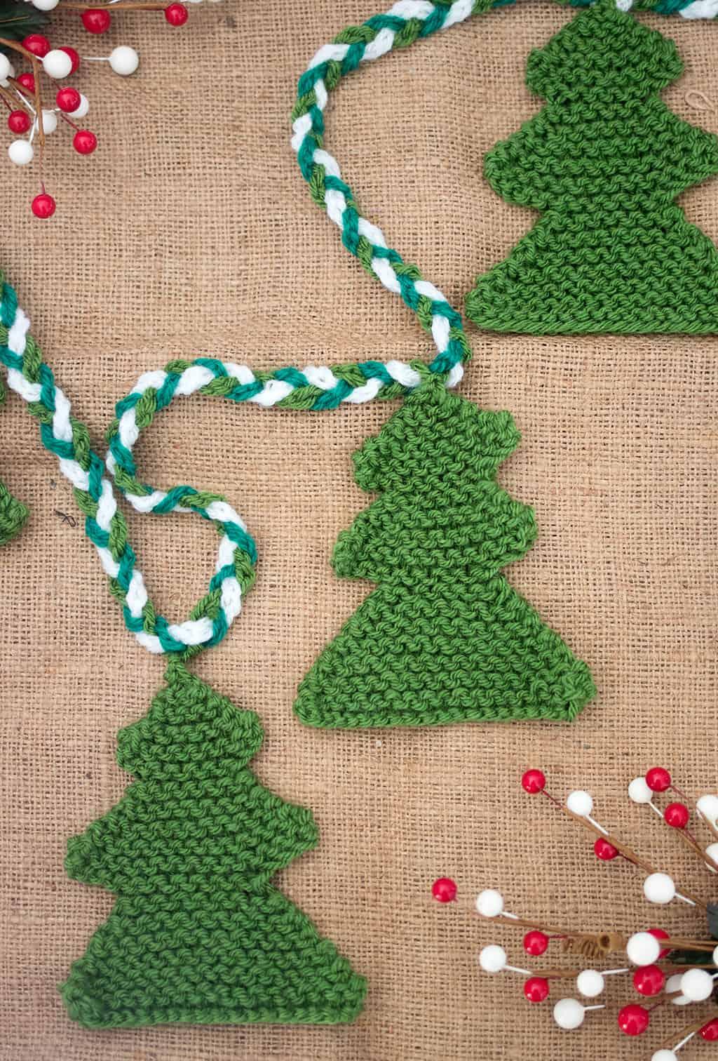 Christmas Tree Garland Knitting Pattern Gina Michele