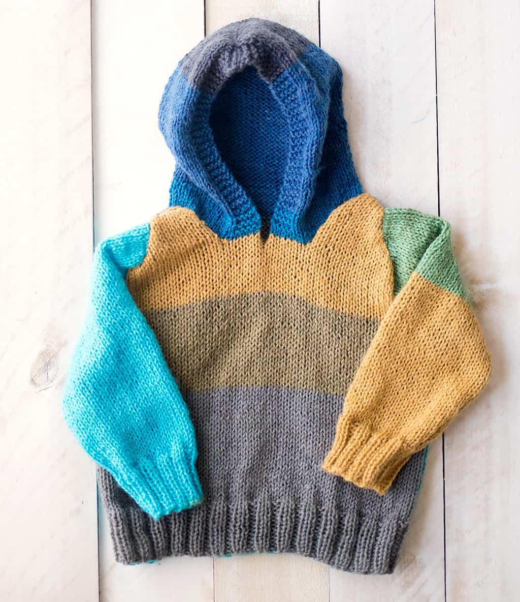 Baby Hooded Sweater Knitting Pattern - Gina Michele